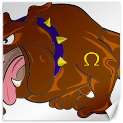 Bulldog Cartoon Angry Dog Canvas 16  X 16
