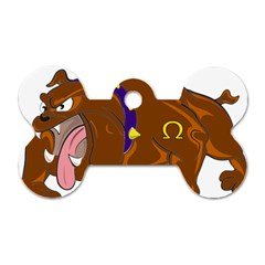 Bulldog Cartoon Angry Dog Dog Tag Bone (two Sides)