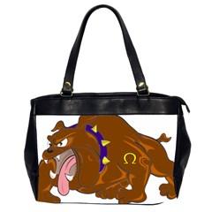 Bulldog Cartoon Angry Dog Office Handbags (2 Sides)