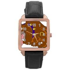 Bulldog Cartoon Angry Dog Rose Gold Leather Watch