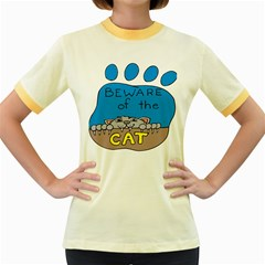 Cat Print Paw Pet Animal Claws Women s Fitted Ringer T Shirts