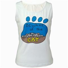Cat Print Paw Pet Animal Claws Women s White Tank Top