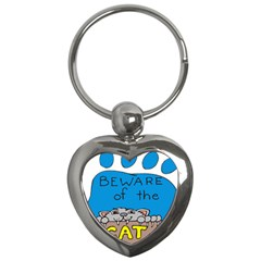 Cat Print Paw Pet Animal Claws Key Chains (heart)