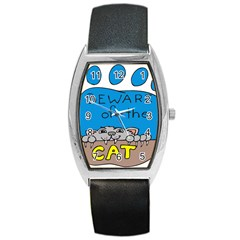 Cat Print Paw Pet Animal Claws Barrel Style Metal Watch