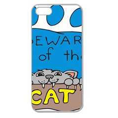 Cat Print Paw Pet Animal Claws Apple Seamless Iphone 5 Case (clear)