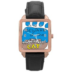 Cat Print Paw Pet Animal Claws Rose Gold Leather Watch