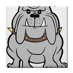 Gray Happy Dog Bulldog Pet Collar Tile Coasters