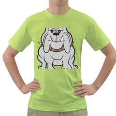 Gray Happy Dog Bulldog Pet Collar Green T Shirt