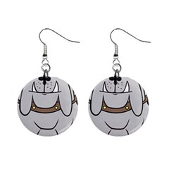 Gray Happy Dog Bulldog Pet Collar Mini Button Earrings