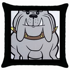 Gray Happy Dog Bulldog Pet Collar Throw Pillow Case (black)