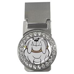 Gray Happy Dog Bulldog Pet Collar Money Clips (cz)