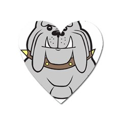 Gray Happy Dog Bulldog Pet Collar Heart Magnet
