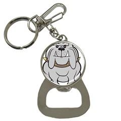 Gray Happy Dog Bulldog Pet Collar Bottle Opener Key Chains