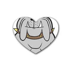 Gray Happy Dog Bulldog Pet Collar Rubber Coaster (heart)
