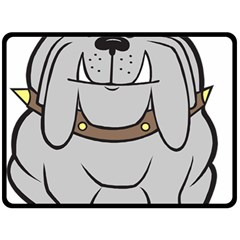 Gray Happy Dog Bulldog Pet Collar Fleece Blanket (large)