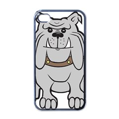 Gray Happy Dog Bulldog Pet Collar Apple Iphone 4 Case (black)