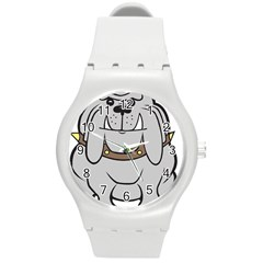 Gray Happy Dog Bulldog Pet Collar Round Plastic Sport Watch (m)