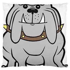 Gray Happy Dog Bulldog Pet Collar Large Cushion Case (one Side)