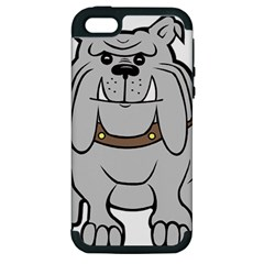 Gray Happy Dog Bulldog Pet Collar Apple Iphone 5 Hardshell Case (pc+silicone)