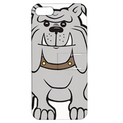 Gray Happy Dog Bulldog Pet Collar Apple Iphone 5 Hardshell Case With Stand