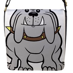 Gray Happy Dog Bulldog Pet Collar Flap Messenger Bag (s)