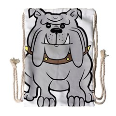 Gray Happy Dog Bulldog Pet Collar Drawstring Bag (large)