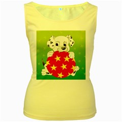 Dalmatians Dog Puppy Animal Pet Women s Yellow Tank Top