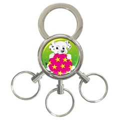 Dalmatians Dog Puppy Animal Pet 3 Ring Key Chains