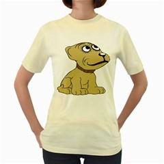 Dog Cute Sitting Puppy Pet Women s Yellow T Shirt