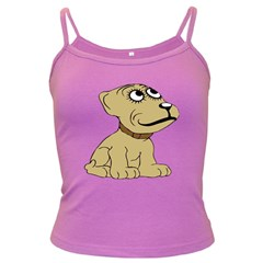 Dog Cute Sitting Puppy Pet Dark Spaghetti Tank