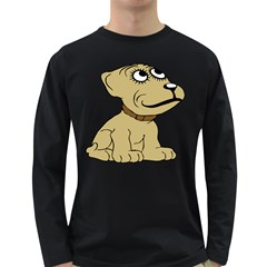 Dog Cute Sitting Puppy Pet Long Sleeve Dark T Shirts