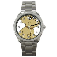 Dog Cute Sitting Puppy Pet Sport Metal Watch