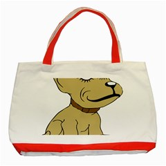 Dog Cute Sitting Puppy Pet Classic Tote Bag (red)