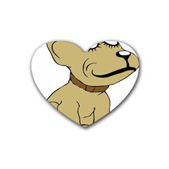 Dog Cute Sitting Puppy Pet Rubber Coaster (heart)