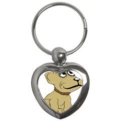 Dog Cute Sitting Puppy Pet Key Chains (heart)