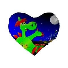Dragon Grisu Mythical Creatures Standard 16  Premium Flano Heart Shape Cushions