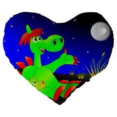Dragon Grisu Mythical Creatures Large 19  Premium Flano Heart Shape Cushions