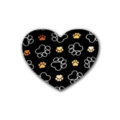 Dog Pawprint Tracks Background Pet Rubber Coaster (heart)