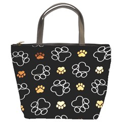 Dog Pawprint Tracks Background Pet Bucket Bags by Nexatart