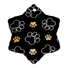Dog Pawprint Tracks Background Pet Snowflake Ornament (two Sides)