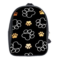 Dog Pawprint Tracks Background Pet School Bag (xl)