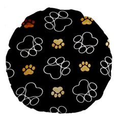 Dog Pawprint Tracks Background Pet Large 18  Premium Flano Round Cushions