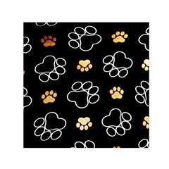 Dog Pawprint Tracks Background Pet Small Satin Scarf (square)