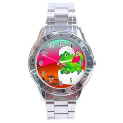 Dinosaur Dino Baby Dino Lizard Stainless Steel Analogue Watch
