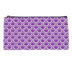 Scales2 White Marble & Purple Denim Pencil Cases by trendistuff