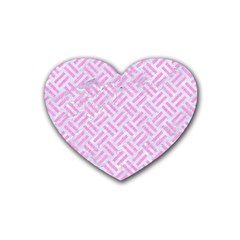 Woven2 White Marble & Pink Colored Pencil (r) Heart Coaster (4 Pack)  by trendistuff