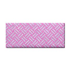 Woven2 White Marble & Pink Colored Pencil Hand Towel by trendistuff