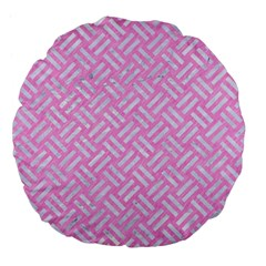 Woven2 White Marble & Pink Colored Pencil Large 18  Premium Flano Round Cushions by trendistuff