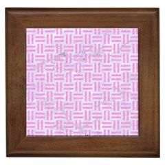 Woven1 White Marble & Pink Colored Pencil (r) Framed Tiles by trendistuff