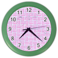 Woven1 White Marble & Pink Colored Pencil (r) Color Wall Clocks by trendistuff